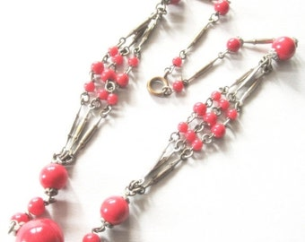 Clearance SALE Lovely Art Deco Red Glass Ball Vintage Necklace