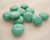 10 - Yummy Luster Green Czech Glass Lentil Beads
