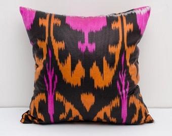 15x15 ikat pillow cover, pink orange black cushion case, ikat, ikats, pillows, sofa pillow, interior cushions, ikat design, orange pillows