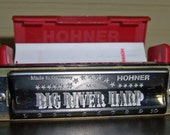 Vintage HOHNER Big River Harp Harmonica Key of C, MS Diatonic Series, 1990s Made in Germany, Original Red Plastic Case with Papers