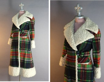 1970s coat 70s Vintage PLAID SHEARLING PRINCESS faux shearling fit and flare wool coat