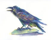 Original Watercolor - Waterlogged Hipster Raven