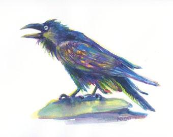 Original Watercolor - Waterlogged Hipster Raven