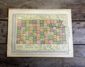 "Antique Map of Kansas. 104yo Map 10x13.5"" Historical Print, Lithograph for Framing. 1911. Colorful, Bold, Industrial, Travel"