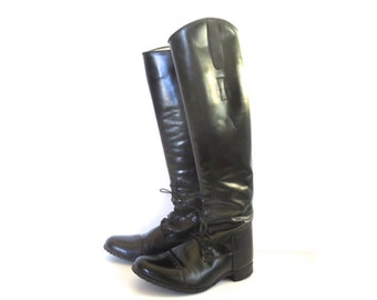 Vintage Elan Black Riding Boots // Size 8 Womens