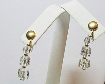 Simmons Glass Dangle Gold Tone Earrings