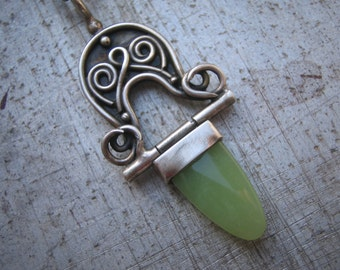 Celtic Hinged Pendant with Pounamu or New Zealand Jade in Sterling Silver