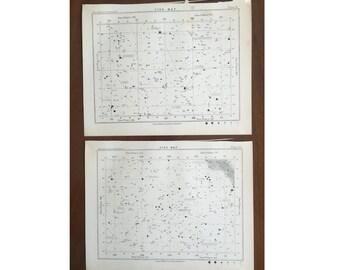 1892 STAR MAP LITHOGRAPHS - original antique prints - celestial astronomy star charts - set of 2 lithographs - plates no. 61 & 63