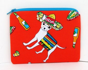 Chihuahua Dog for Cinco De Mayo, Small Zipper Pouch, Dog Coin Purse