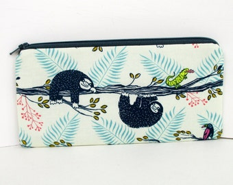 Zippered Pencil Pouch, Lazy Day Sloths, Cotton and Steel Fabric