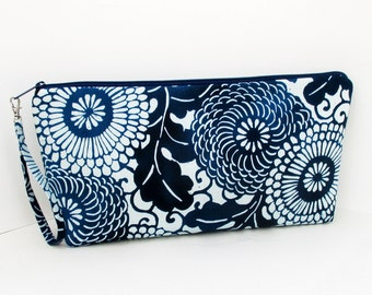 Knitting Project Bag, Large Zipper Pouch, Indigo Blue Mumm