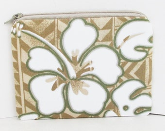 Small Zipper Pouch, White Hawaiian Hibiscus on Tan Chevron, Tropical Coin Purse
