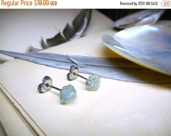 Sea Song. Rough Petite Raw Aquamarine and titanium post Stud Boho rustic earrings. -no.1 Stone Temples Collection
