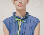 Winter Sale 15% Off!!! Net BLUE shirt with green velvet tying and pleats