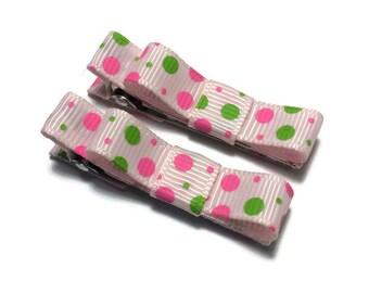 Pink & Green Handmade Hair Bow Clip Set, Tuxedo Bow Clip Set, Basic Bow Set, Mini Hair Bow Set, Simple Hair Bow Clip Set