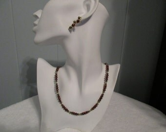 Burgundy Fresh Water Pearls Necklace and Earrings Set