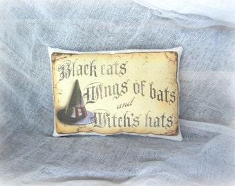 Halloween Mini Pillow | Halloween Decor | Halloween Accent | Vintage Halloween | Halloween verse