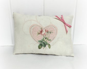 Valentine PIllow | Valentine decoration | Valentine decor | Pink rose print | Gift of love | holiday decor | Gift for her | Victorian Rose |