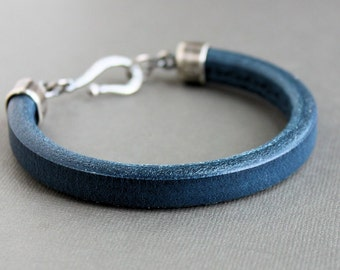 Navy Blue Thick Leather Bracelet, Sterling Silver Clasp, Men's