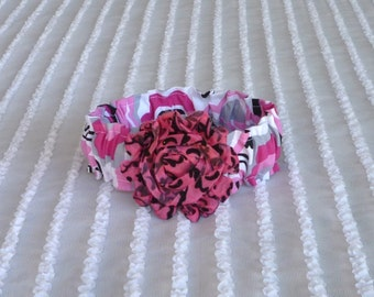 "Doodle Daisies Dog Scrunchie Collar with pink and black shabby chic rose - Size XS:  10"" to 12"" neck"