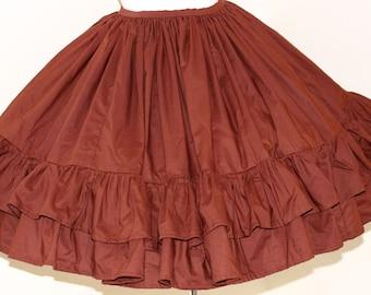 Steampunk Gothic Lolita Skirt Full Gathered Ruffle Skirt Goth Loli Steam Punk Brown Custom Size Plus Size Made to Measure Cotton Fabric