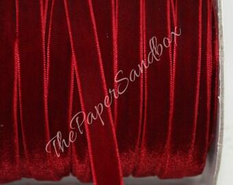 """Velvet Ribbon, Burgundy Velvet Ribbon by the yard 3/8"""" wide, Velvet Trim, Gift Wrapping, Christmas Ribbon, Costumes, Party Supplies, Wedding"""