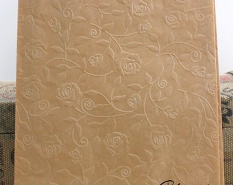 25 Rose Embossed Grease Resistant Brown/White Paper Bags, Candy Bags, Wedding Cake Bags, Cookie Bags, Shower Favor Bags, Party Favor Bags