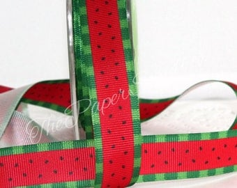 """Watermelon Patterned Ribbon, 3/4"""" wide by the yard, Summer Ribbon, Gift Wrapping, Party Supplies, 4th of July, BBQ, Beach Party Ribbon"""