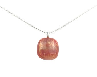 Pendant Necklace with Peach with Gold Shimmer Iridescent Glass