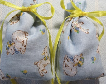 "Light Blue 3""X2"" Sachet-'Bedtime Bath(type)' Fragrance-Children's Lamb Sachet-Cotton Fabric Sachet-Yellow Ribbon-Cindy's Loft-735"