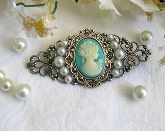 Victorian Lady Cameo Brooch,  Lady Cameo Brooch, Cameo Jewelry, Cameo Brooch, Handmade Brooch, Cameo, Victorian Brooch, Blue Cameo, P-072