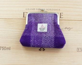 Coin purse, purple HARRIS TWEED, handmade in Scotland