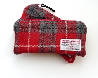 Wool Pencil Case - red and grey HARRIS TWEED - purse organiser - handwoven wool pouch