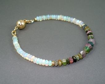 Opal Bracelet, Ethiopian Fire Opals, Tourmaline, Gold Fill Beads and Clasp Fire Opal Bracelet, Fire Opal Jewelry