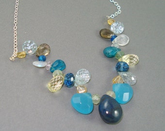 Mixed Gemstone Necklace, Large Sapphire, Aqua Chalcedony, Aquamarine, Topaz, Moonstone, Apatite, Sterling Silver Chain