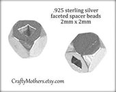 30% Off 30 bucks with code: THIRTYOFF30, Bali Sterling Silver Faceted Spacer Beads, 2mm x 2mm, genuine artisan-made supplies, precious metal
