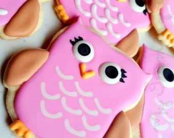 Decorated Owl Sugar Cookies