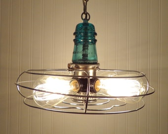 Venti-Air. INDUSTRIAL LIGHT Chandelier Upcycle Repurpose shown with Edison Bulbs & Glass Vintage TEAL Insulator
