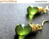 BACK to SCHOOL SALE Green Teardrop Earrings - Dangle Earrings, Gold Wire Wrapped Earrings. Handmade Earrings.