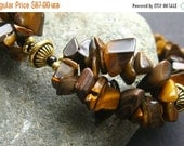VALENTINE SALE Tigers Eye Cuff Bracelet Beaded in Gemstones and Gold. Handmade Bracelet.