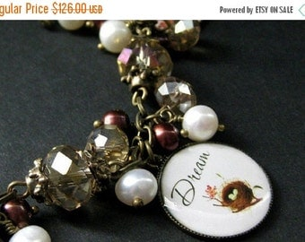 HALLOWEEN SALE Bird Nest Charm Bracelet in Fresh Water Pearl, Taupe Crystals and Bronze. Handmade Bracelet.