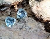 Sky Blue Topaz studs, Gemstone Earrings, Fall Gifts, Heart Earrings, Genuine Gemstone Earrings, blue topaz earrings, Bridal studs