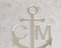 ON SALE Monogram Anchor Cake Topper for Nautical Wedding
