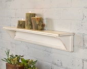 Handmade 30-inch Long One Level Wall Shelf with Vintage White Finish - IN STOCK - Same Day Shipping - Wooden Display Shelf
