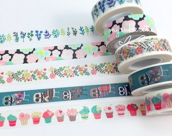 Cupcake Washi Tape • Owl Washi Tape • Botanical Print Washi Tape • Flower Washi Tape • Leaves Washi Tape
