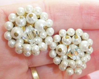 vintage white beads cluster Japan clip on earrings with clear faceted bead in center 1115C