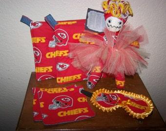 Chiefs Tutu Dammit Doll Womens Sleep Mask UpCycled Redneck Potholders(2) Drink Rug Mugs(2) NFL Pro Football Gift Set MOTHERS DAY Tailgating