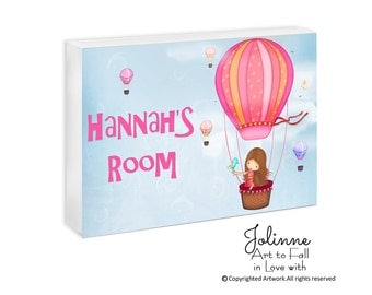 Baby Name Sign Personalized Nursery Door Hanger personalized baby shower gift for girl Hot Air Balloon Kids Bedroom Art Custom Name decor
