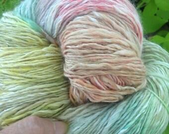 "525 Yards Luxury Silk/Bamboo 80/20 Handspun Hand Dyed Yarn ""Easter Eggs"""