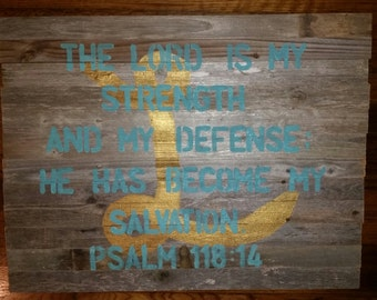 """Personalized Scripture Sign with """"L"""" and Psalm 118:14"""